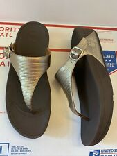 FIT-FLOP The SKINNY Silver Metallic Leather Comfort Thong Sandals Sz 9