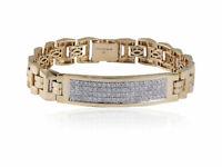 Pave 1.92 Cts Round Brilliant Cut Diamonds Men's Bracelet In Hallmark 14K Gold