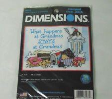 "Dimensions Stamped Cross Stitch 7""X5"" What Happens At Grandmas Stays At Grandmas"