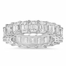 18K White Gold Emerald Cut Diamond Eternity Ring Size 7 Natural Certified 6.01CT