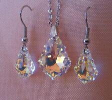 Swarovski Elements Crystal in Aurora Borealis Pendant Necklace and Earring Set
