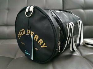 Fred Perry Classic Barrel Bag Black Holdall Gym Bag