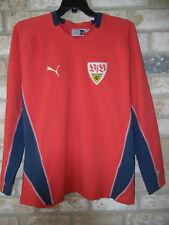 PUMA mens XXL red cotton V-Neck long sleeve STUTTGART SOCCER SHIRT
