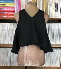 CAMEO The Label shirt top blouse black cropped pleated swing S UK 8 US 4