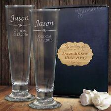 Personalised Tall Pilsner Beer Glass Set Engraved Wedding Birthday Present Groom