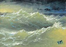 ORIGINAL ACEO OIL PAINTING SEASCAPE Expressionism Boiling Ocean Hurricane Wave