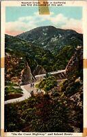 Vtg 1920's Newhall Grade on Coast Highway, GOLD RUSH California CA Postcard
