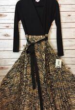NWT LuLaRoe 2XS DEANNE Dress Solid Black Top Cream & Gold Aztec Pleated Bottom