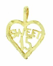 14k Solid Yellow Gold Sweet 15 Anos Heart Pendant Dije Corazon Oro 17x12mm