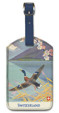 Leatherette Travel LUGGAGE TAG Baggage Label SWITZERLAND Duck Hunting SWISS