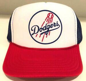 Los Angeles Dodgers Blue Baseball Foam Mesh Snap Back Trucker Hat Vintage Logo