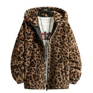 Autumn Winter New Leopard Print Jacket Unisex Plush Coats Long Sleeve Warm Top