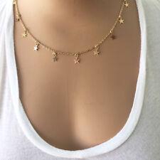 Star Choker Necklace Chain - Gypsy Boho Hippie Jewelry Gold Tone