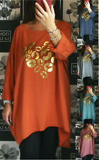 Ladies Womens Italian Lagenlook Oversized Heart Print Tunic Top Dress Plus Size