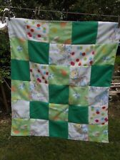 Fleece Flannel Green Blue Throw Quilt Tie Quilted Baby Blanket Car Couch Nap
