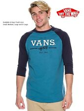Vans Boy's Youth size Luxury Goods Crew Neck Raglan 3/4 Sleeve T-Shirt Blue/Navy