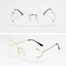 Women Transparent Eyeglasses Rimless Glasses Oversized Clear Lens Sunglasses
