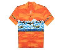 Made in Hawaii Men's Hawaiian Aloha Shirt in Orange