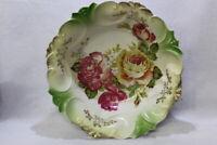 """Antique German Bowl Pink ROSES Large 10.5"""" Embossed Porcelain Bowl L@@K!"""