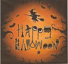 2 Serviettes en papier Socière Fête Decoupage Paper Napkins Happy Halloween