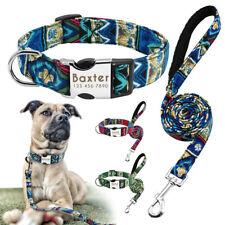 Personalized Dog Collar and Leash set Soft Fabric ID Name Tags Engraved Free S-L