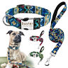 Nylon Tribal Personalised Dog Collar and Leash Engraved Name ID Collar Tag S M L