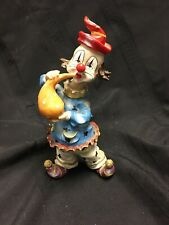 Clown Figurine Playing A Horn Of Some Sort Very Colorful.Resin