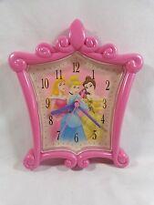"DISNEY PRINCESS Wall Clock 9"" Pink Tiara Cinderella Belle Sleeping Beauty"