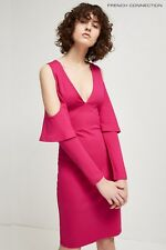 NEW French Connection Bodycon Cold Shoulder Dress, Magenta, Size 8, RRP £80