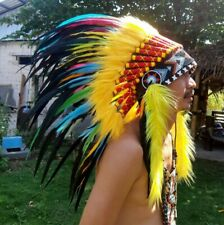 Chief Feathers Warbonnet Indian Headdress Native American Hat Perfect for Party