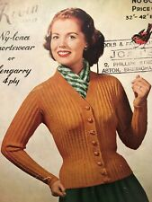 1950s Nipped Waist Ribbed Cardigan High V Neck Knitting Pattern Robin 602 PDF