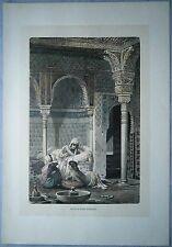 1880 Spain engraving: SALA DE LAS CAMAS, ALHAMBRA, GRANADA (#36)