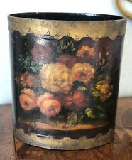 STUNNING VINTAGE ANTIQUE OVAL HAND-PAINTED WOODEN FLORAL TOLE WASTE TRASH CAN