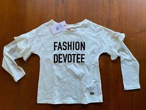 Sista white long sleeve Tshirt with frill black flocked FASHION DEVOTEE - size 6