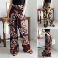 Womens Front Belt High Waist Plus Size Pants Full Length Printed Floral Trousers