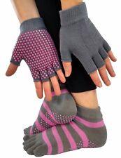 Grip Socks & Gloves - Non-Slip for Yoga, Pilates, Barre, Exercise - Pink & Gray