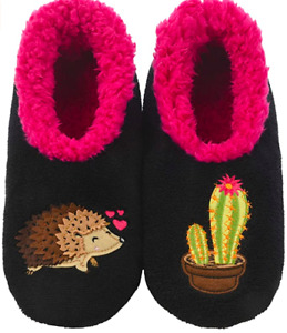 Snoozies Slippers Hedgehog XL 11/12 Erinaceinae Love Cactus Hearts