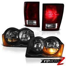 For 08-10 Jeep Grand Cherokee Laredo Matte Black Headlamps Smoke Red Tail Lights