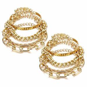 Flat Cable Metal Twisted Rope Hip Hop Chunky Chain Bracelets Boho Bangle