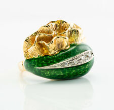 Diamond Ring Green Enamel 18K Gold Band Vintage