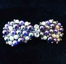 USA BARRETTE use Swarovski Crystal Hair Clip Hairpin Lady ellipse Purple Pearl 4
