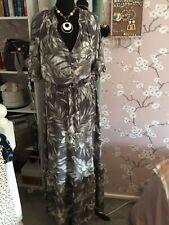BNWT NEXT GRIS CREMA Hilo Metálico Maxi vestido de nivel de volantes gitana Talla 14 £ 42