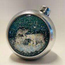 Bath & Body Works Silver Polar Bear Ornament Music Snow Globe Timer & Light New