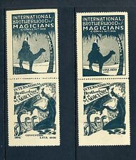VINTAGE MAGICIAN STAMPS: INTERNATIONAL BROTHERHOOD OF MAGICIANS LOT OF 2 PAIRS