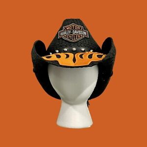 Harley Davidson Hand Crafted Cowboy Hat with Patch And Studded Hatband.