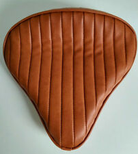 Large Custom Solo Seat Tan Tuck n Roll to fit Harley Bobber Chopper Triumph