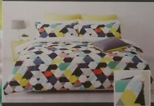 """DOUBLE """" LEVI """" COTTON QUILT COVER SET. REVERSIBLE  COLOURFUL GEO PRINT. 2 IN 1"""