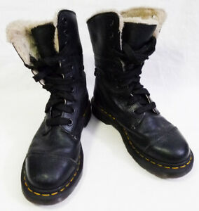 Dr. Martens Black Aimilitia Faux Fur Lined Leather High Boots size 7