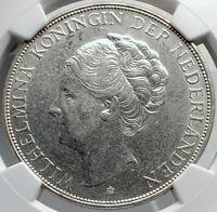 1939 Netherlands Kingdom Queen WILHELMINA 2 1/2 Gulden Silver Coin NGC i81948