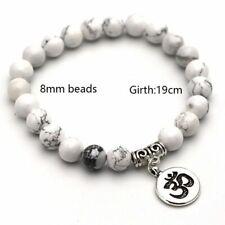 Natural Stone Bracelet 8mm Beads Bangle Lotus Yoga Bracelets Men Women Jewelry